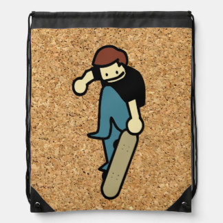 cork background skateboard drawstring backpacks