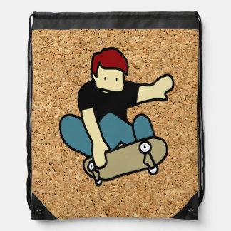 cork background skateboard drawstring backpacks