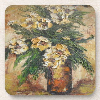Cork Coaster Set Ann Hayes Painting Yellow Flowers