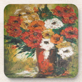 Cork Coaster Set Ann Hayes Red Flowers Mixed