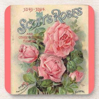 Cork Coaster - vintage pink roses seed packet illu