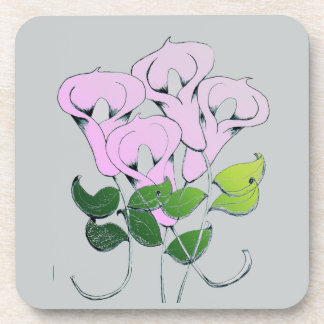 Cork Coaster with Lily Flower Art
