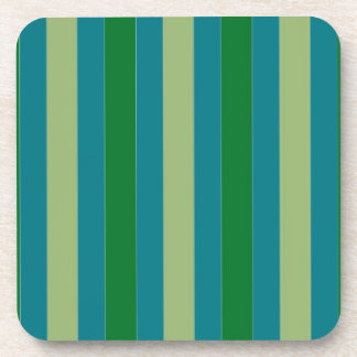 Cork Coasters with Blue Green Stripes