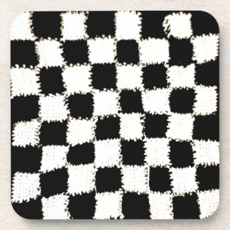 Cork Drink Coasters with Crocheted Checkered Style