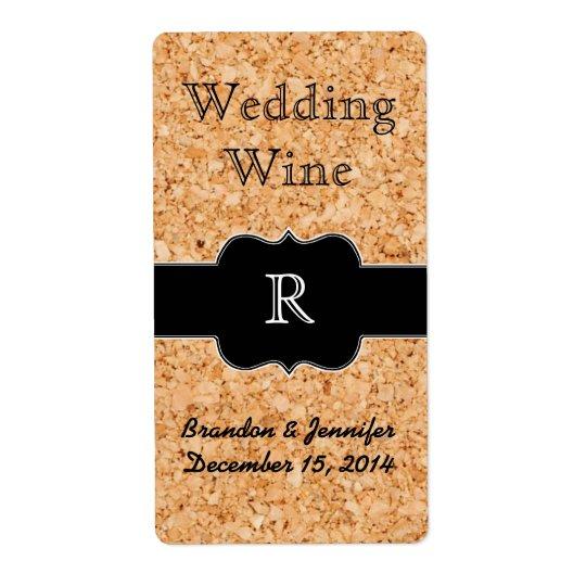 Cork Look and Monogram Wedding Mini Wine Label Shipping Label