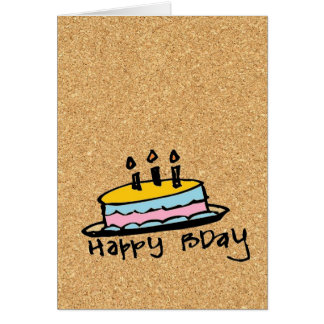 cork paper happy birthday greeting card