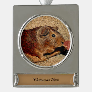 Corkboard Look Guinea Pig Silver Plated Banner Ornament