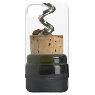 Corkscrew and cork, photographed on white barely there iPhone 5 case