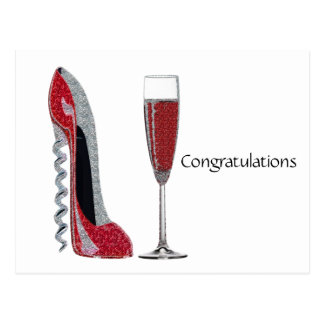Corkscrew Heel Red Stiletto and Champagne Glass Postcard