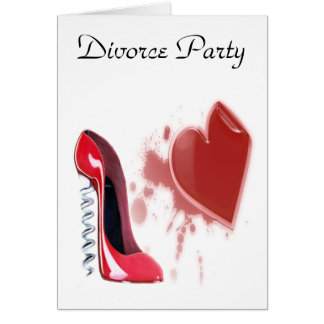 Corkscrew Red Stiletto and Breaking Heart Greeting Card
