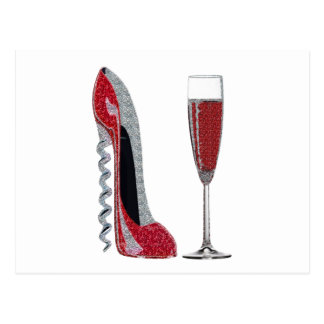 Corkscrew Red Stiletto and Champagne Glass Art Postcard