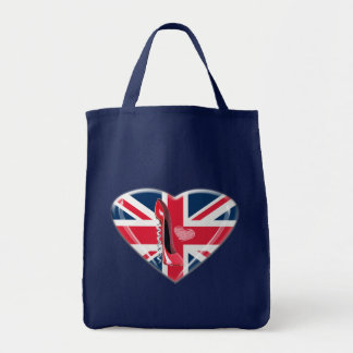 Corkscrew Red Stiletto and Union Jack Heart Tote Bags