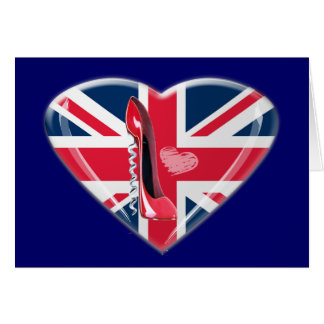Corkscrew Red Stiletto and Union Jack Heart Cards