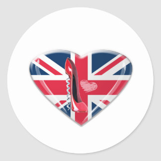 Corkscrew Red Stiletto and Union Jack Heart Round Stickers
