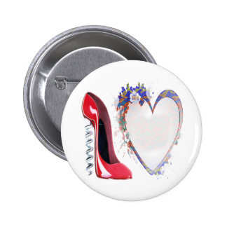 Corkscrew Red Stiletto Shoe and Floral Heart Pin
