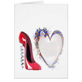 Corkscrew Red Stiletto Shoe and Floral Heart Greeting Card