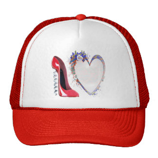 Corkscrew Red Stiletto Shoe and Floral Heart Trucker Hats
