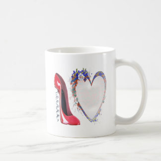 Corkscrew Red Stiletto Shoe and Floral Heart Coffee Mugs