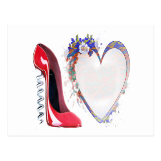 Corkscrew Red Stiletto Shoe and Floral Heart Postcard