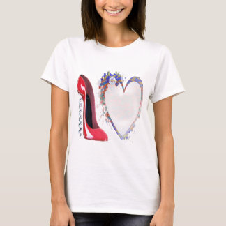 Corkscrew Red Stiletto Shoe and Floral Heart T-Shirt