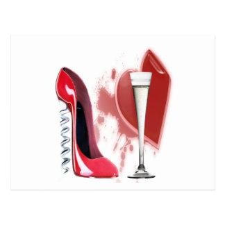 Corkscrew Red Stiletto Shoe, Champagne and Heart Postcard