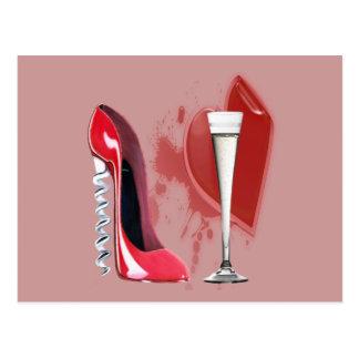 Corkscrew Red Stiletto Shoe, Champagne and Heart Postcard
