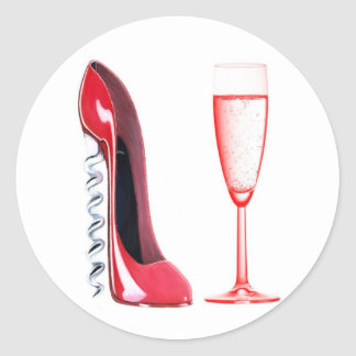 Corkscrew Shoe and Champagne Glass Classic Round Sticker