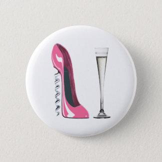 Corkscrew Stiletto and Champagne Flute 6 Cm Round Badge