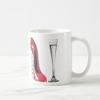 Corkscrew Stiletto Shoe and Champagne Flute Glass Coffee Mug