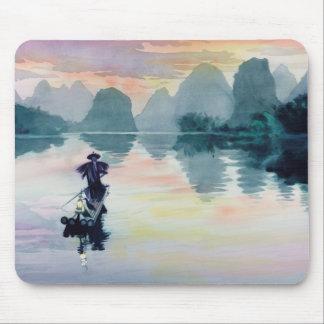 """Cormorant Fisherman"" China Watercolor Mouse Pad"