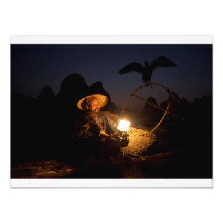 Cormorant fishermen at night photo print