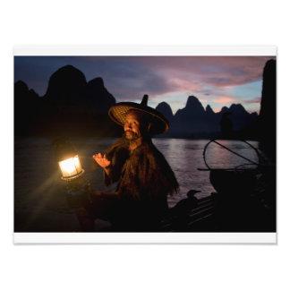 Cormorant fishermen at sunset photo print