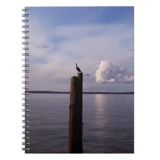 Cormorant On Pole Spiral Notebook