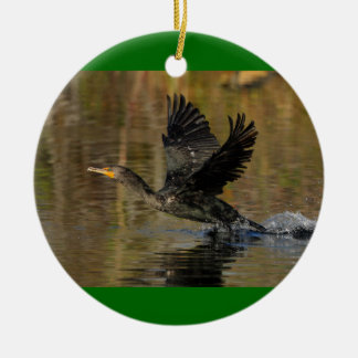 cormorant takeoff ceramic ornament