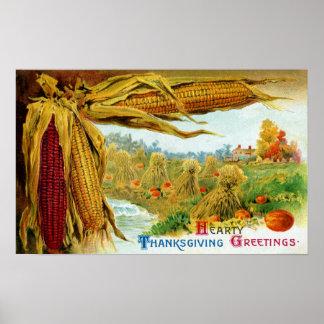 Corn and Pumpkins Vintage Thanksgiving Poster