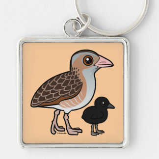 Corn Crake with baby Silver-Colored Square Key Ring
