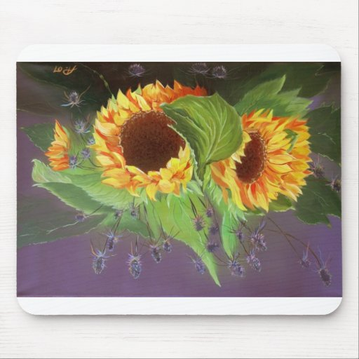 Corn field cornflowers sunflower mousepad