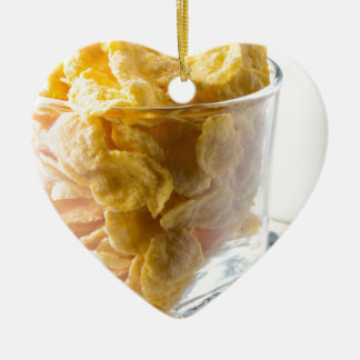 Corn flakes and glass of milk ceramic heart decoration