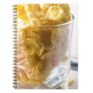 Corn flakes and glass of milk spiral notebook