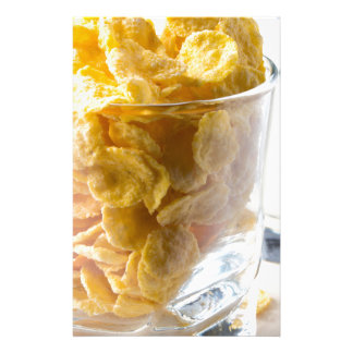 Corn flakes and glass of milk stationery