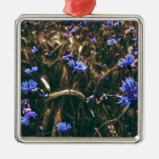 Corn Flower in Field Metal Ornament