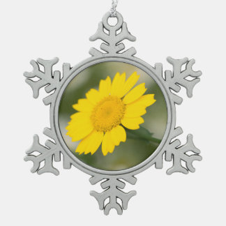 Corn Marigold Snowflake Pewter Christmas Ornament