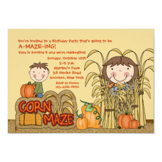 Corn Maze Party (Girl) Invitation