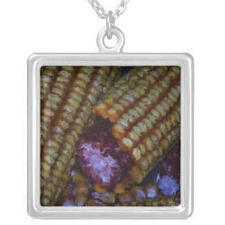 Corn on the Cob Art Silver Plated Necklace