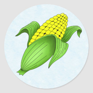 Corn On The Cob with Blue Bkgd Stickers