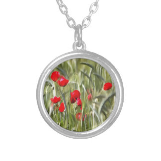 Corn Poppies Silver Plated Necklace