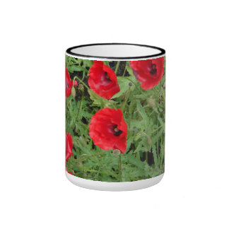 corn poppy blooms in red coffee mug