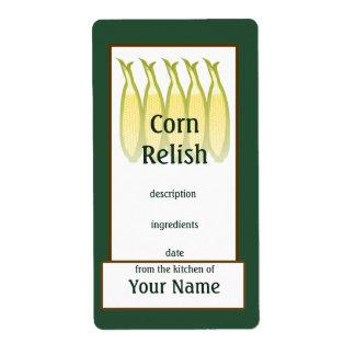 Corn Relish Preserves Label
