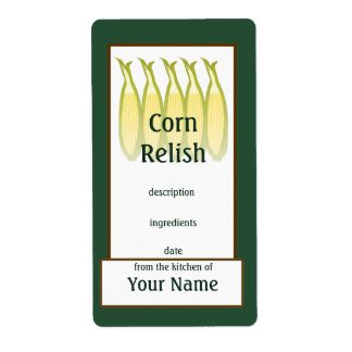Corn Relish Preserves Label Shipping Label