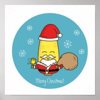 Corn Santa Claus Merry Christmas Print